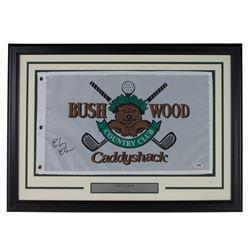 """Chevy Chase Signed """"Caddyshack"""" Bushwood 20x28 Custom Framed Pin Flag Display (PSA COA)"""