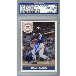 Hank Aaron Signed 1992 Front Row Aaron #1 (PSA Encapsulated)