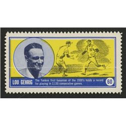 1962 Famous Americans Stamps Test Issue #60 Lou Gehrig