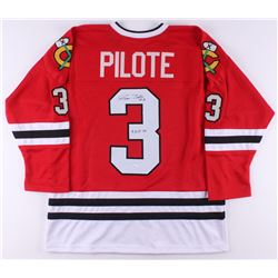 "Pierre Pilote Signed Jersey Inscribed ""H.O.F. 75"" (JSA COA)"