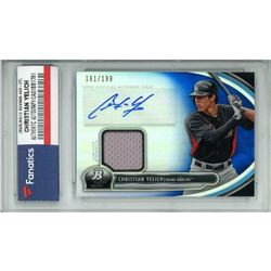 2013 Bowman Platinum Relic Autographs Blue Refractors #CY Christian Yelich (Fanatics Encapsulated)