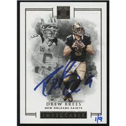 2018 Panini Honors Recollection Collection #395 Drew Brees #1/9 2016 Impeccable Base Autograph #78