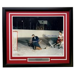 Gordie Howe Signed Detroit Red Wings 22x27 Custom Framed Photo Display (JSA COA)