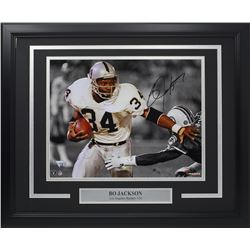 Bo Jackson Signed Oakland Raiders 18x22 Custom Framed Photo Display (Fanatics Hologram)