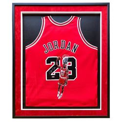 Michael Jordan Signed 33x42 Custom Framed Jersey With Original Hand-Painted Portrait (UDA Hologram)
