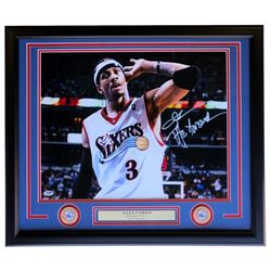 Allen Iverson Signed Philadelphia 76ers 22x27 Custom Framed Photo Display (PSA COA)