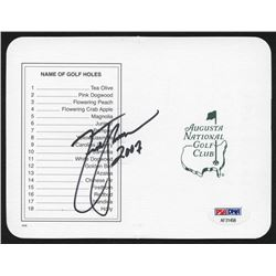 "Zach Johnson Signed Masters Augusta National Golf Club Scorecard Inscribed ""2007"" (PSA Hologram)"