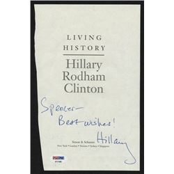"Hillary Clinton Signed ""Living History"" Book Title Page Inscribed ""Best Wishes"" (PSA Hologram)"