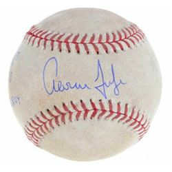 "Aaron Judge Signed Game-Used OML Baseball Inscribed ""GU 6/6/17"", ""2-4 2B""  ""17 AL ROY"" (MLB Hologram"