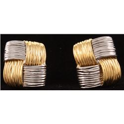 Pair of 18kt Two-Tone Gold Earrings