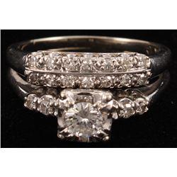 14Kt White Gold  Diamond Two Piece Wedding Set