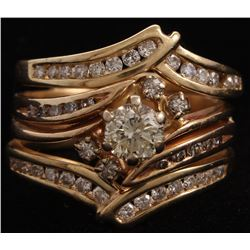 14Kt Yellow Gold Diamond Three Piece Wedding Set