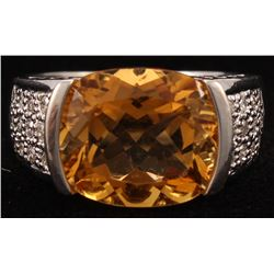 14Kt White Gold Citrine  Diamond Ring