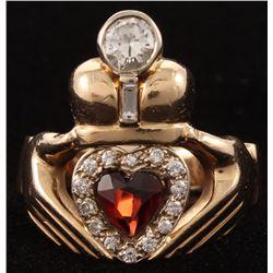 14kt Yellow Gold Garnet  Diamond Claddagh Ring