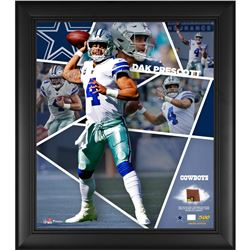 Dak Prescott LE Dallas Cowboys 15x17 Custom Framed Photo Shadow Box Display with Game-Used Football