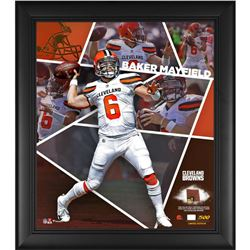 Baker Mayfield LE Cleveland Browns 15x17 Custom Framed Photo Shadow Box Display with Game-Used Footb