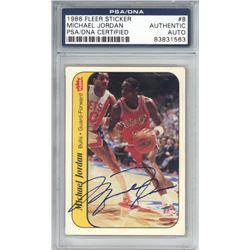 Michael Jordan Signed 1986-87 Fleer Stickers #8 Rookie Card (PSA Encapsulated  UDA Hologram)