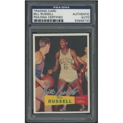 Bill Russell Signed Rookie Reprint Card (PSA Encapsulated)
