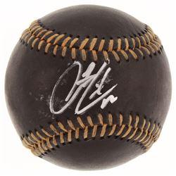 Francisco Lindor OML Black Leather Baseball (Beckett COA)