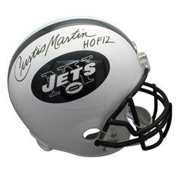 "Curtis Martin Signed New York Jets Throwback Full-Size Helmet Inscribed ""HOF 2012"" (Beckett COA)"