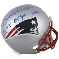 Curtis Martin Signed New England Patriots Full-Size Helmet with (3) Rookie-Year Stat Inscriptions (B