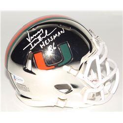 "Vinny Testaverde Signed Miami Hurricanes Chrome Speed Mini-Helmet Inscribed ""Heisman 86"" (Beckett CO"