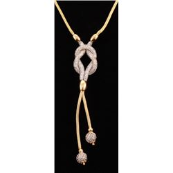 18Kt Two-Tone Gold Y-Style Mesh Necklace