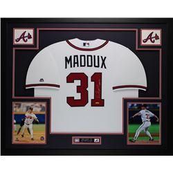 """Greg Maddux Signed 35"""" x 43"""" Custom Framed Jersey Inscribed """"HOF 14"""" (TriStar)"""