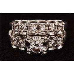 Vintage 14Kt White Gold  Diamond Bridal Set