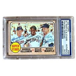 Harmon Killebrew, Willie Mays  Mickey Mantle Signed 1968 Topps #490 Super Stars (PSA Encapsulated)