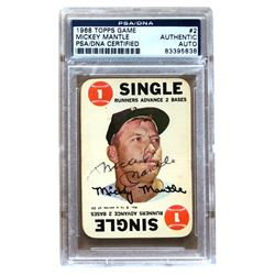 Mickey Mantle Signed 1968 Topps Game #2 (PSA Encapsulated)