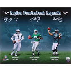 Ron Jaworski, Randall Cunningham  Donovan McNabb Signed Philadelphia Eagles 16x20 Photo (JSA COA)