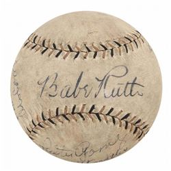 1934 Tour of Japan Vintage Baseball Signed by (12) with Babe Ruth, Lefty Gomez, Jimmie Foxx (Beckett