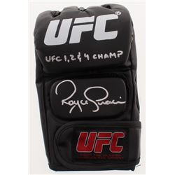 "Royce Gracie Signed UFC Glove Inscribed ""UFC 1, 2  4 Champ"" (PA COA)"