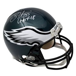"Brian Dawkins Signed Eagles Full-Size Authentic On-Field Helmet Inscribed ""HOF 18"" (JSA COA)"
