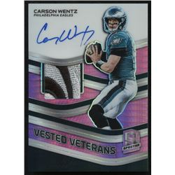 2019 Panini Spectra Vested Veterans Jersey Autographs Neon Pink #20 Carson Wentz #11/15