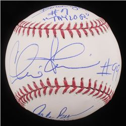 """Charlie Sheen, Corbin Bernsen,  Tom Berenger Signed """"Major League"""" OML Baseball Inscribed """"Taylor"""""""