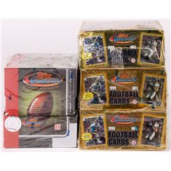 Lot of (4) Football Unopened Boxes with (1) 2002 Topps Finest Box with (3) Mini Boxes, (3) 1999 Topp