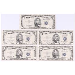 Lot of (5) 1953-A $5 Five Dollar Silver Certificate Bank Notes with Consecutive Serial Numbers