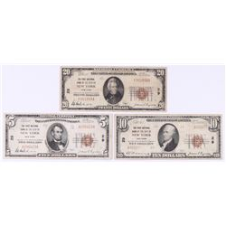 Lot of (3) 1929 U.S. National Currency Bank Notes with $20, $10  $5