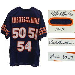 "Dick Butkus, Brian Urlacher,  Mike Singletary Signed Jersey Inscribed ""HOF 98"" (Schwartz COA)"