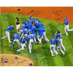 2016 Chicago Cubs World Series Champions 20x24 Photo Team-Signed by (23) with Theo Epstein, Ben Zobr
