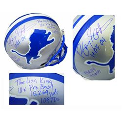 Barry Sanders Signed Detroit Lions Throwback Full-Size Authentic On-Field Helmet with Multiple Caree