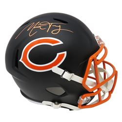 Mitchell Trubisky Signed Chicago Bears Flat Matte Black Full-Size Speed Helmet (Fanatics Hologram)