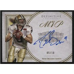2015 Topps Definitive Collection Legendary Autographs Blue #LACDB Drew Brees #5/10