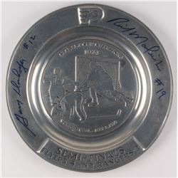 "Rick MacLeish   Gary Dornheofer Signed ""The Hall of Fame 1974 Stanley Cup Champions"" Plate (JSA COA)"