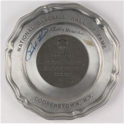 "Ralph Kiner  Billy Herman Signed ""The Hall of Fame 1975 Induction Weekend"" Plate (JSA COA)"
