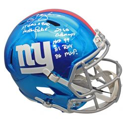 Lawrence Taylor Signed New York Giants Full-Size Chrome Speed Helmet with Multiple Career Stat Inscr