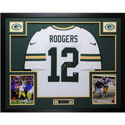 Aaron Rodgers Signed Green Bay Packers 35x43 Custom Framed Jersey (Fanatics Hologram)