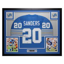 Barry Sanders Signed 35x43 Custom Framed Jersey Display (TriStar Hologram)